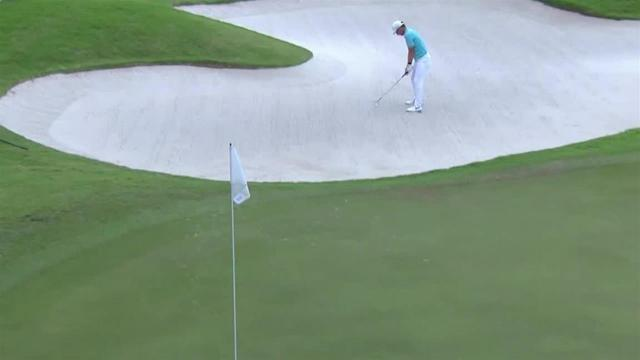 Emiliano Grillo holes bunker shot for birdie at Puerto Rico