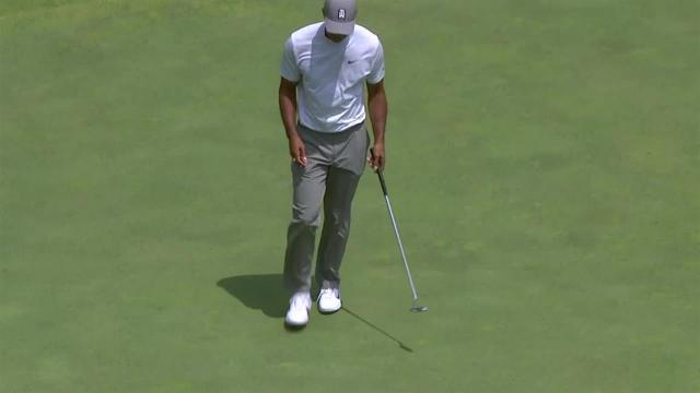 Tiger Woods jars 15-footer for birdie at the Memorial