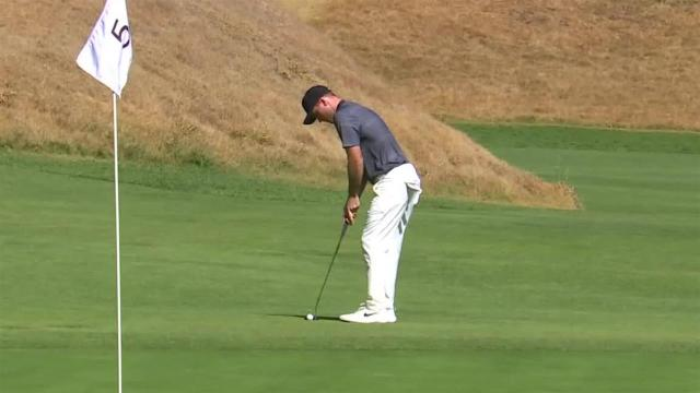 Russell Henley sinks birdie putt from off the green at Genesis