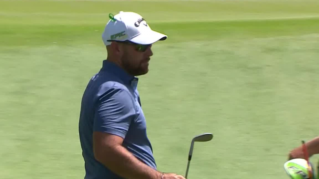 Scott Brown hits the flagstick in approach at Wells Fargo