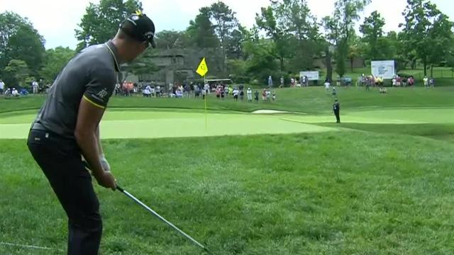 Henrik Stenson gets up-and-down for birdie at the Memorial
