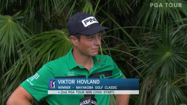Viktor Hovland interview after winning Mayakoba