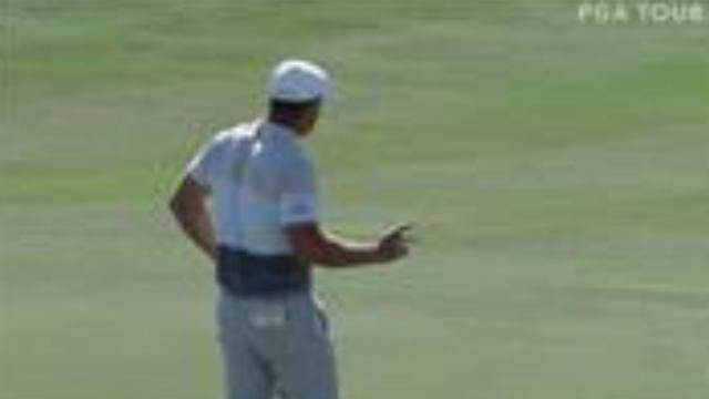 Bryson DeChambeau's lengthy eagle putt at Hero