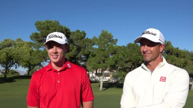 Adam Scott plays practice round with young Aussie golfer Jack Trent