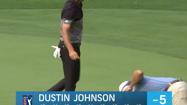 Dustin Johnson gets up-and-down for birdie at RBC Heritage