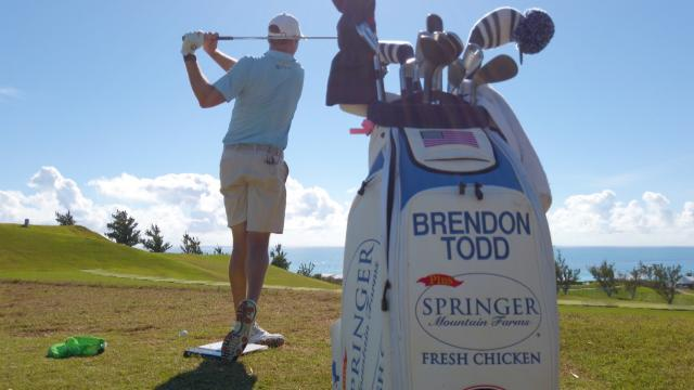 Brendon Todd demonstrates swing drills he uses on the range