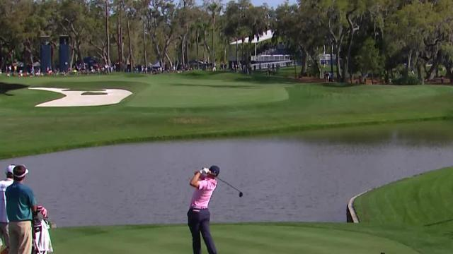 Justin Thomas loves his tee-shot on the par-4 12th hole at THE PLAYERS