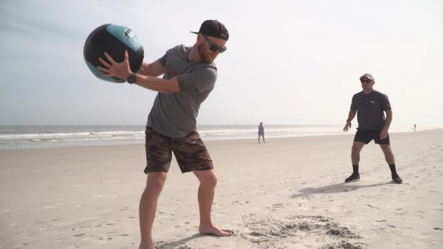 A beach workout with Tyler McCumber