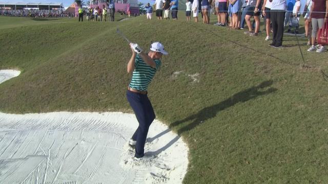 Bo Hoag hits the cart path and goes backwards at Bermuda