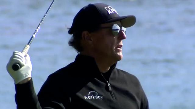Phil Mickelson takes scenic route on No. 18 at Pebble Beach