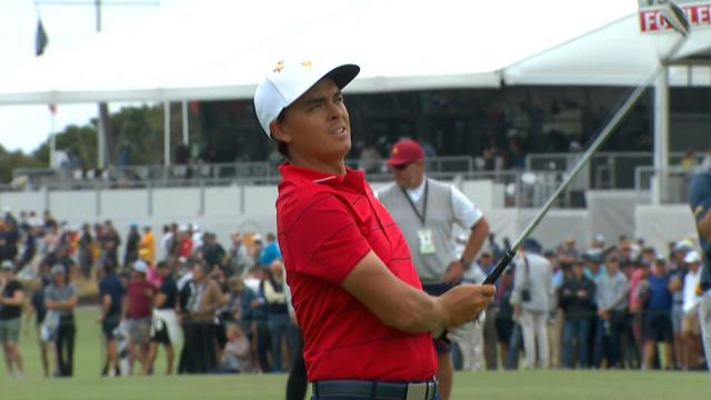 Rickie Fowler's approach sets up birdie putt at the Presidents Cup
