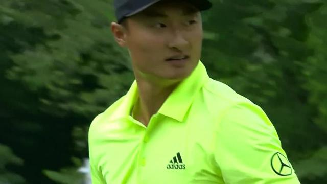 Haotong Li's tee shot inside 10 feet leads to birdie at the Memorial