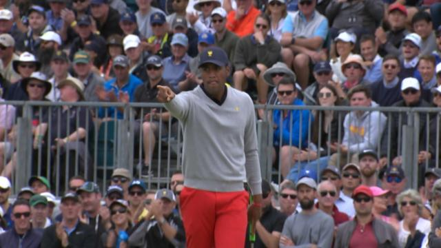 Tony Finau's 25-foot birdie putt at the Presidents Cup