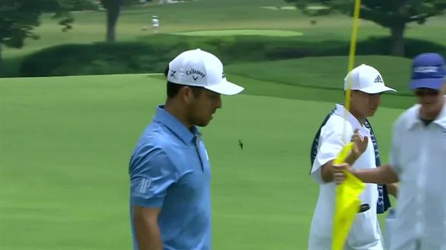 Xander Schauffele drains 24-footer for birdie at the Memorial