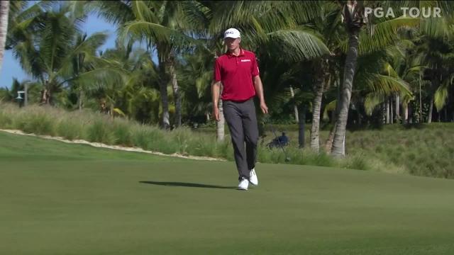 Mackenzie Hughes drains clutch birdie putt on No. 15 at Corales Puntacana