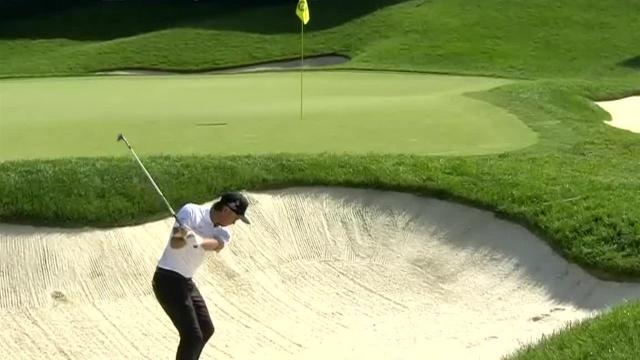 Rickie Fowler makes bunker shot for birdie at the Memorial