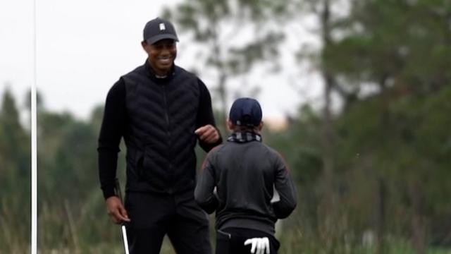 Tiger Woods and son Charlie's practice round at PNC Championship