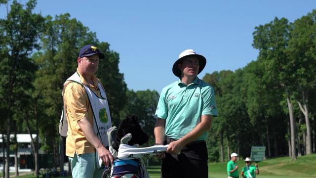 Joel Dahmen bonds with cancer survivor at John Deere