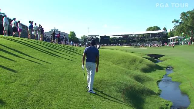 Tony Finau's solid approach from the creek at Wells Fargo