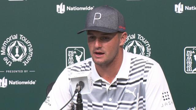 Bryson DeChambeau speaks about his defense before the Memorial