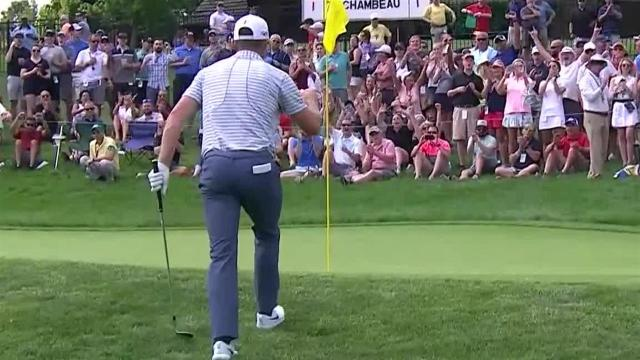 Justin Rose chips in for birdie at the Memorial