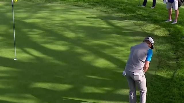 Sebastian Cappelen sinks birdie putt from off the green at Farmers