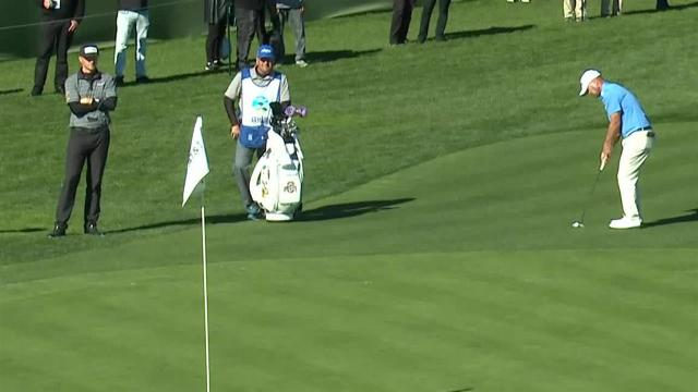Ryan Armour sinks long birdie putt from off the green at AT&T Pebble Beach