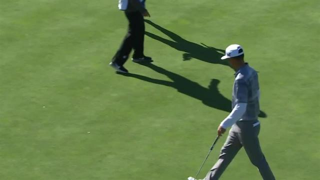 James Hahn rolls in 36-footer for birdie at AT&T Pebble Beach