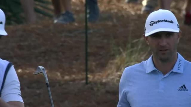 Dustin Johnson gets up-and-down for birdie at THE PLAYERS