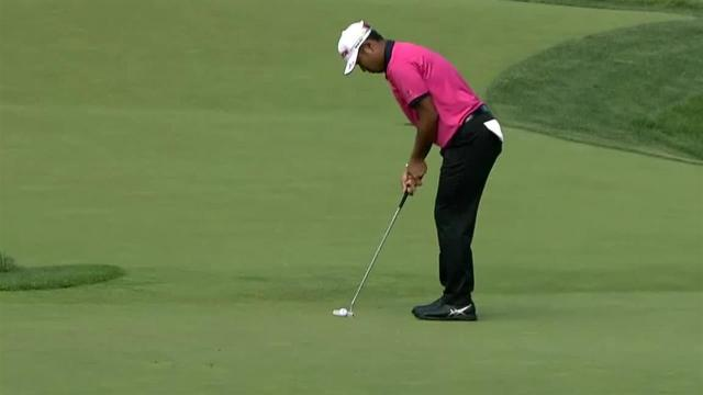 Hideki Matsuyama sinks a 32-foot birdie at the Memorial