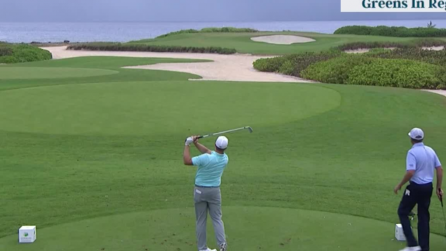 Brice Garnett's near-ace on the 17th hole at Corales Puntacana