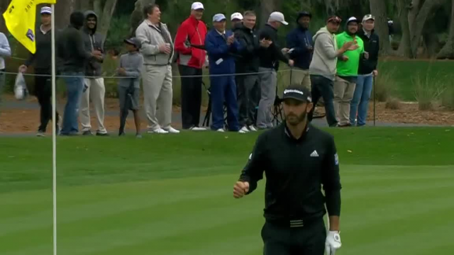 Dustin Johnson chips in for birdie at THE PLAYERS