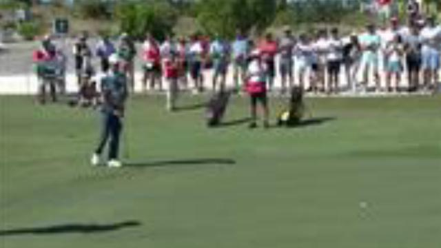 Justin Rose's birdie putt from the fringe at Hero