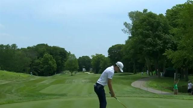 Joaquin Niemann leads the field off the tee at John Deere