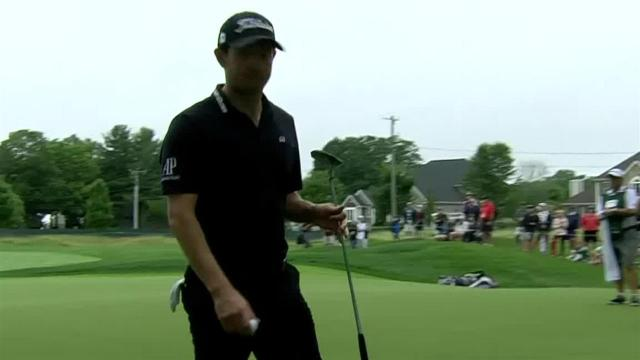 Patrick Cantlay nearly holes out from the rough at Travelers