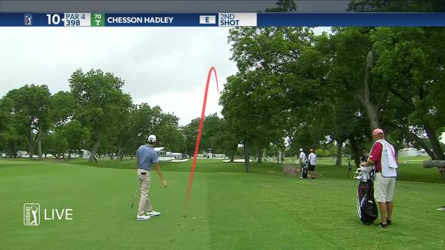 Chesson Hadley sticks approach to set up birdie at Charles Schwab