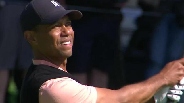 Tiger Woods sticks approach to set up birdie at Genesis