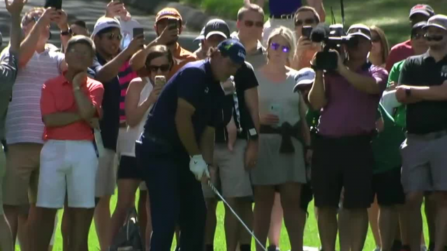 Phil Mickelson's approach from the trees yields 8-foot birdie putt at Wells Fargo