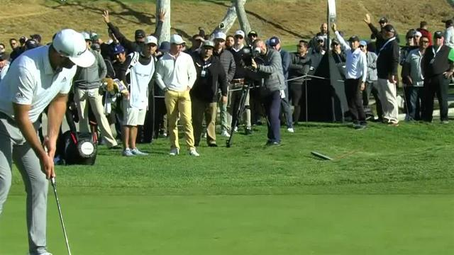 Dustin Johnson drains 12-foot birdie putt at Genesis