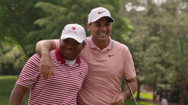 Jason Day plays with Succeeding Together Contest winner