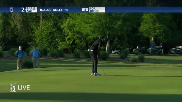 Tony Finau sets up birdie from bunker at Zurich Classic