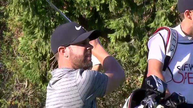 Kevin Tway hits flagstick to set up birdie at Safeway Open