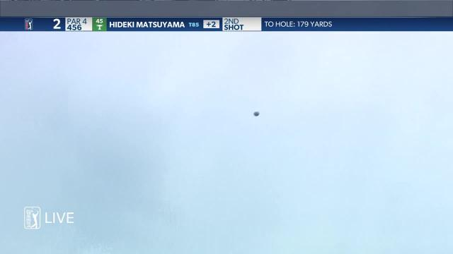 Hideki Matsuyama throws a dart on No. 2 at Wells Fargo