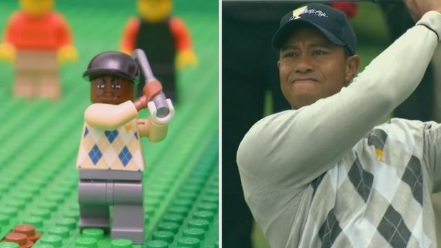 Lego Tiger Woods' approach and club twirl at 2009 Presidents Cup