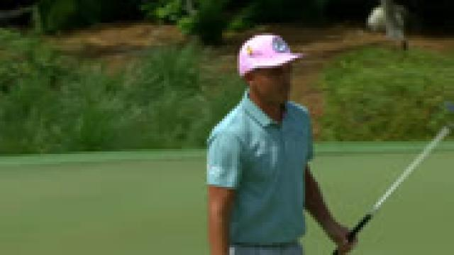 Rickie Fowler sinks a 25-foot birdie on No. 2 at Arnold Palmer