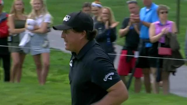 Phil Mickelson dials in approach to lead to birdie at the Memorial