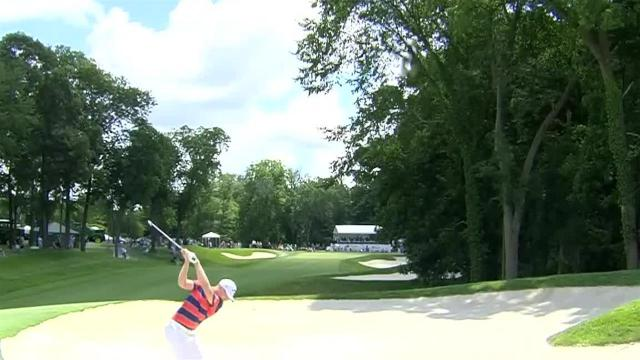 Daniel Berger's approach from the bunker leads to birdie at John Deere