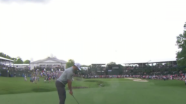 Max Homa's 192-yard approach yields par putt on No. 18 at Wells Fargo