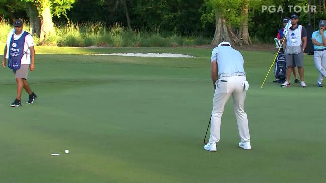 Adam Scott sticks approach to set up birdie at Zurich Classic