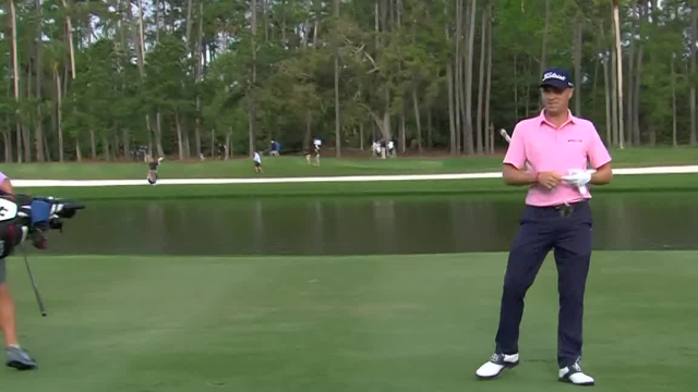 Justin Thomas sticks his approach on No. 7th hole at THE PLAYERS